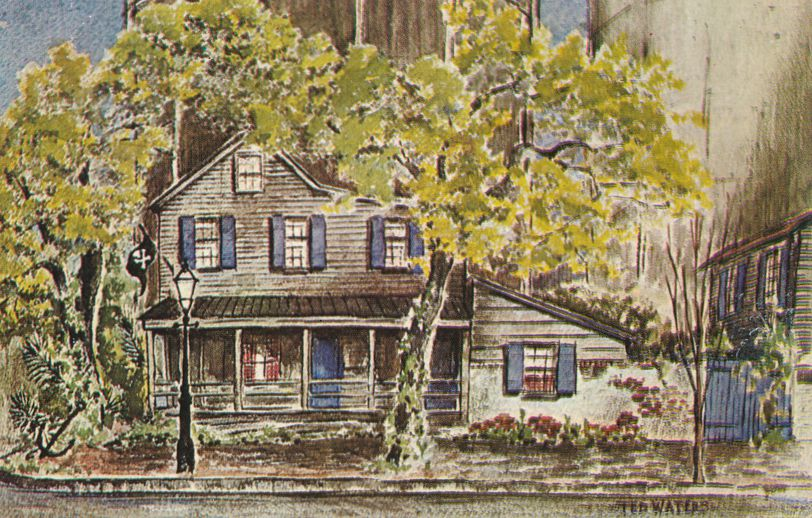 Savannah, Georgia - Famous Pirates House - Artist Signed Ted Waters - pm 1974