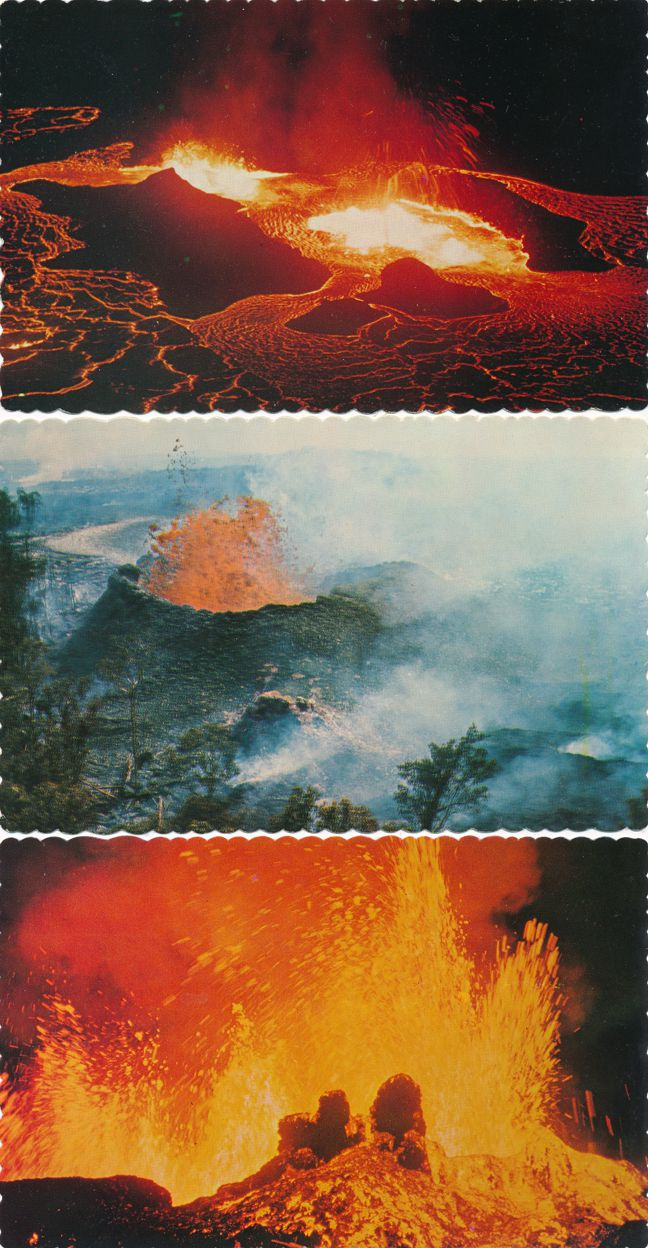 (3 cards) Volcanos of Hawaii including the Kilauea Volcano