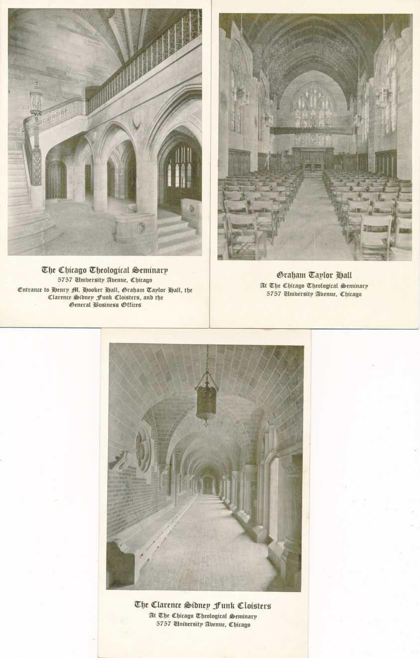 (3 cards) Theological Seminary at Chicago, Illinois - Arches Cloisters Graham Hall - White Border