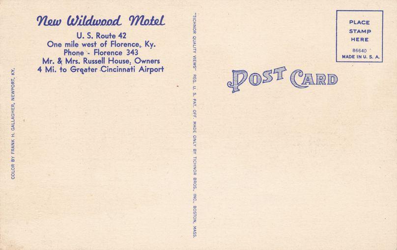 Florence, Boone County, Kentucky - New Wildwood Motel - Linen Card