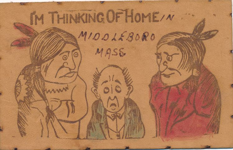 Middleboro, Massachusetts - Thinking of Home - Leather Postcard - Undivided Back