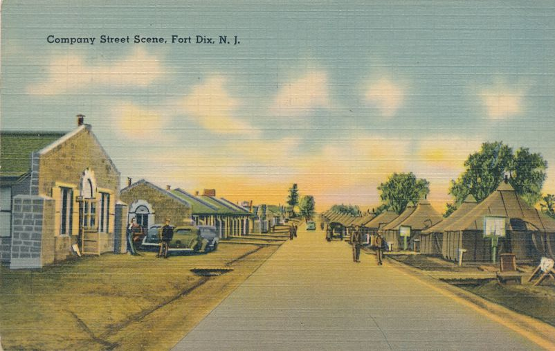 Fort Dix, New Jersey - Company Street Scene - pm 1947 at Mount Holly NJ - Linen Card