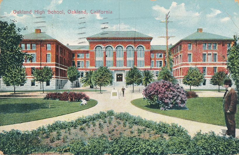 Oakland, California - Oakland High School - pm 1910 - Divided Back