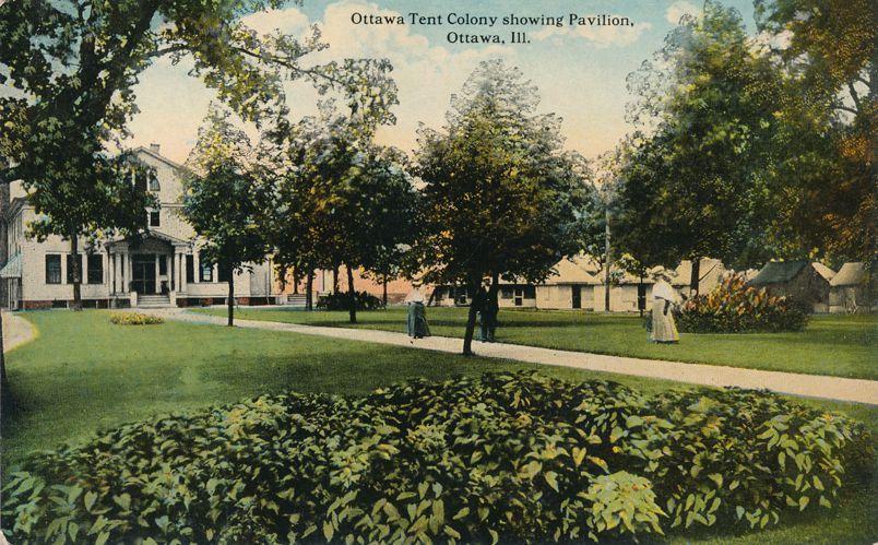 Ottawa, Illinois - Tent Colony showing Pavilioni - Divided Back