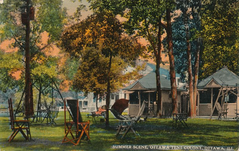 Ottawa, Illinois - Summer Scene at Tent Colony - Divided Back