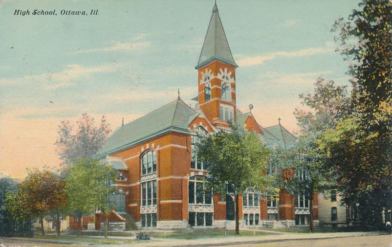 Ottawa, LaSalle County, Illinois - High School - pm 1912 at Morris IL - Divided Back