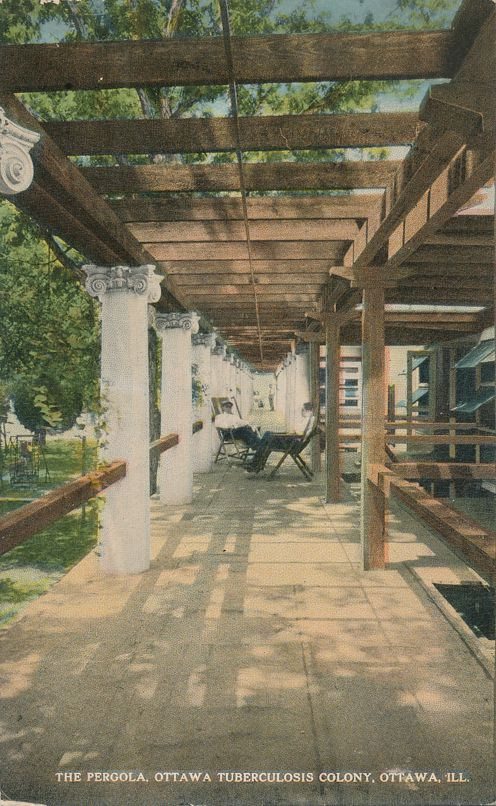 Ottawa, Illinois - Patients in Pergola at Tuberculosis Colony - Divided Back