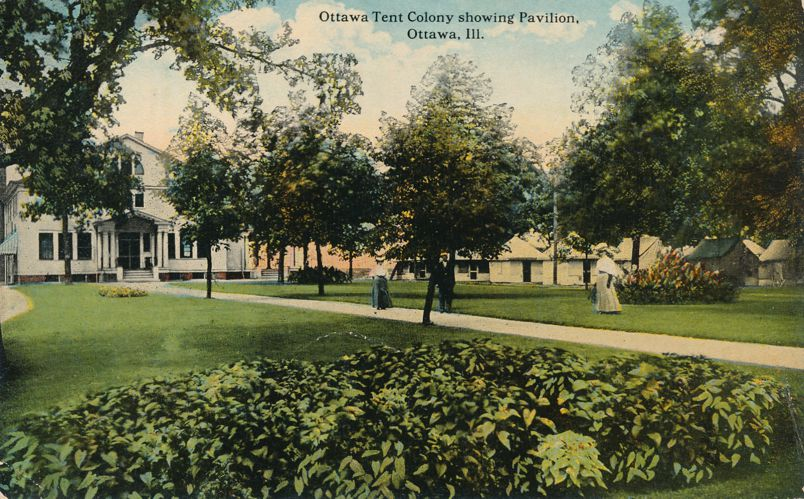 Ottawa, Illinois - Tent Colony Grounds showing Pavilion - Divided Back