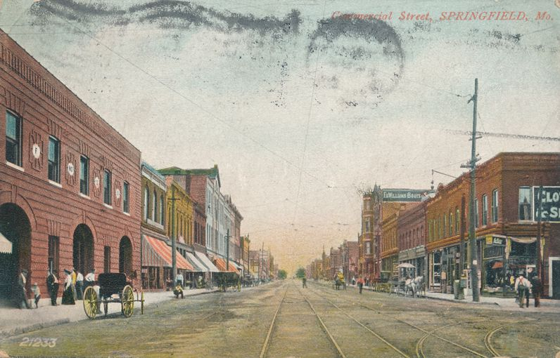 Springfield, Missouri - Trolley Tracks on Commercial Street - pm 1907 - Divided Back