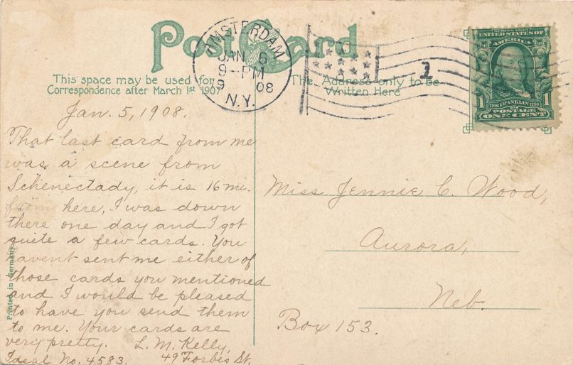 Amsterdam, New York - The Antler Club - pm 1908 - Divided Back