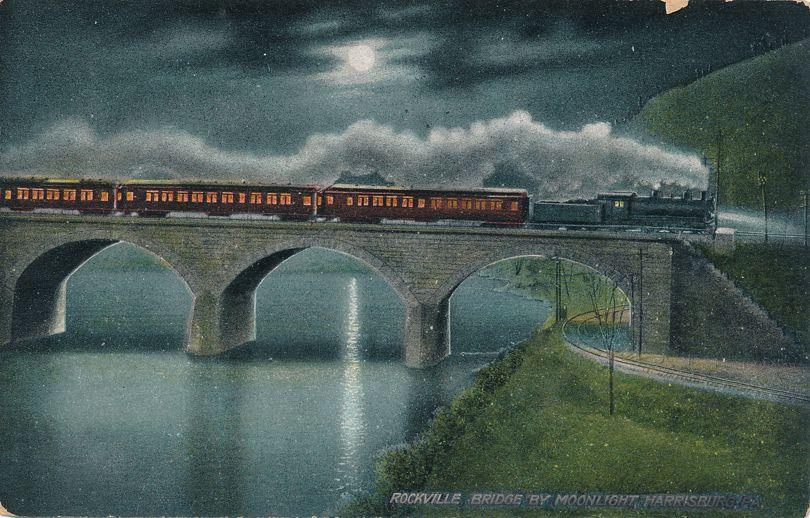 Harrisburg, Pennsylvania - Rockville Railroad Bridge by Moonlight - pm 1909 - Divided Back