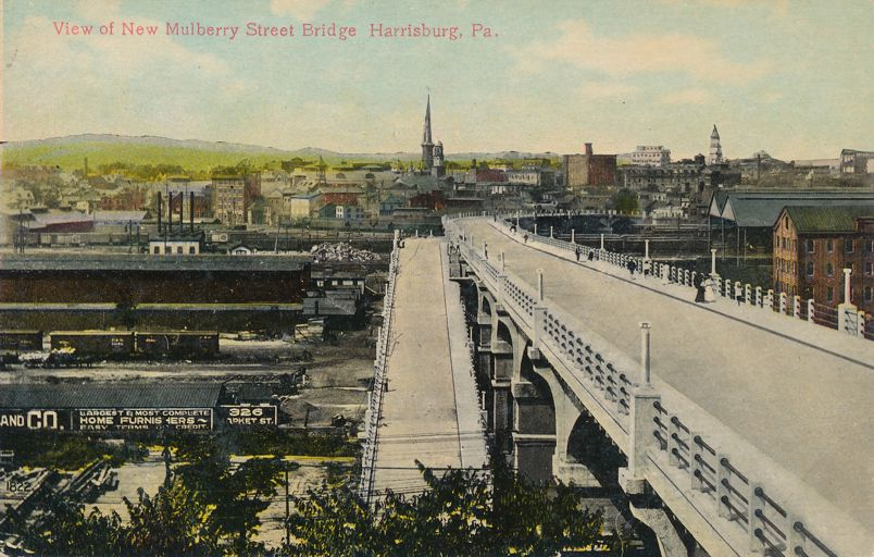 Harrisburg, Pennsylvania - View of New Mulberry Street Bridge - Divided Back