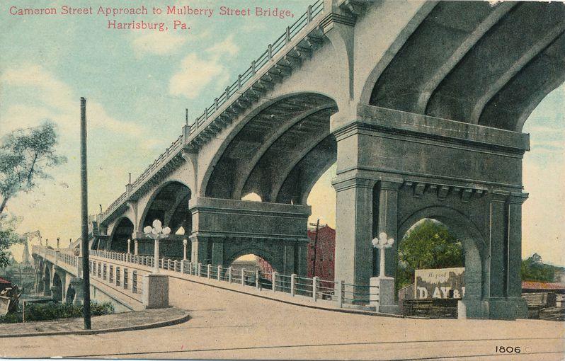 Harrisburg, Pennsylvania - Cameron Street Approach to Mulberry Bridge - Divided Back