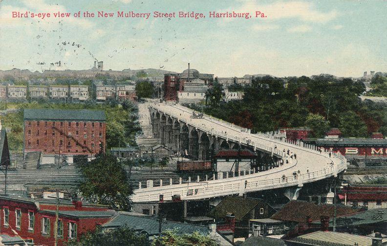 Harrisburg, Pennsylvania - Bird's Eye View - New Mulberry Street Bridge - pm 1911 at New Bloomfield PA - Divided Back