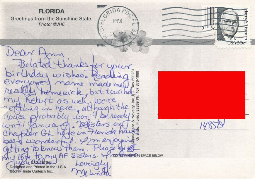 Florida Oranges - Greetings from the Sunshine State - pm 1998