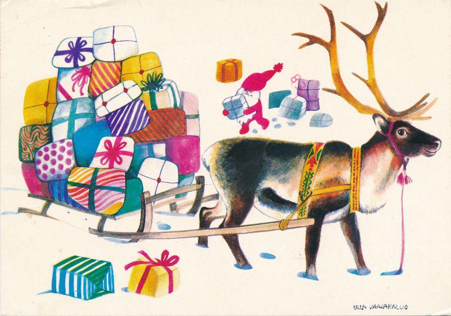 Christmas Greetings - Reindeer and Colorful Presents - pm 1979 - a/s Ulla Vaajakallio