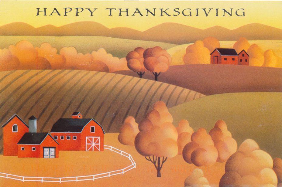 Thanksgiving Greetings - Farm View - pm 1997 at Houston TX