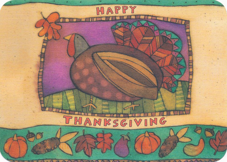 Thanksgiving Greetings - Turkey and Autumn Items - pm 1999 at Williamsburg