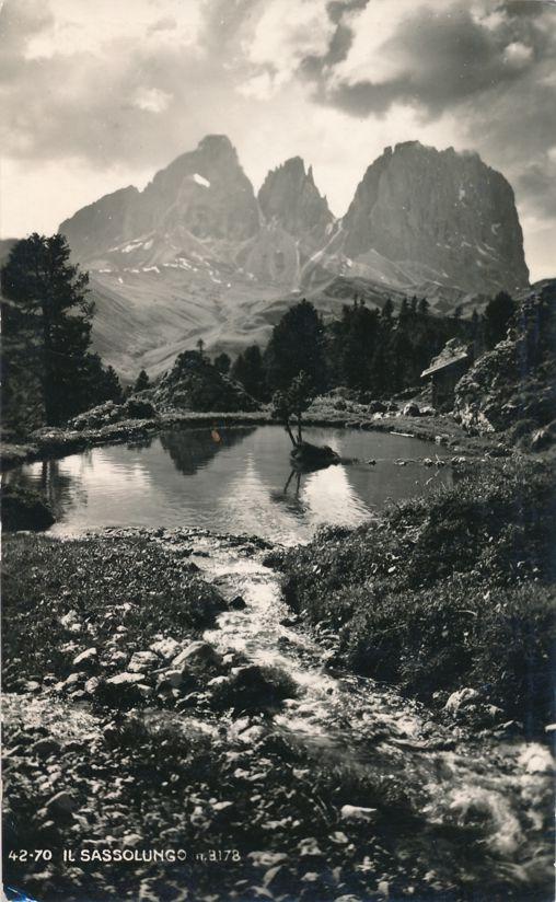 RPPC Il Sassolungo Mountain in the Dolomites, Italy - pm 1950 at tember - Real Photo