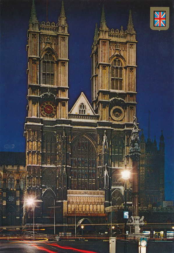 Westminster Abbey at Night - London, United Kingdom - England - pm 1990
