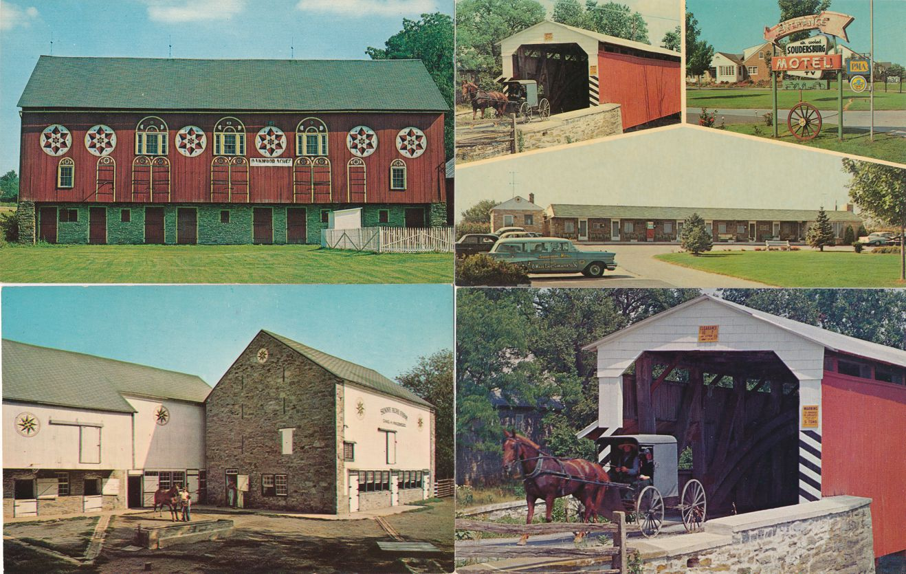 (4 cards) Amish Country near Lancaster, Pennsylvania - Hex Barns and Covered Bridges