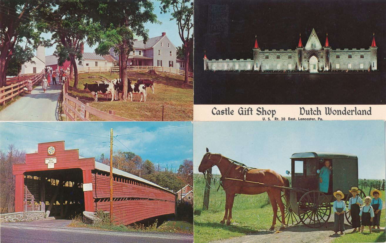 (4 cards) Amish Country near Lancaster, Pennsylvania - Gift Shop Horse and Buggy