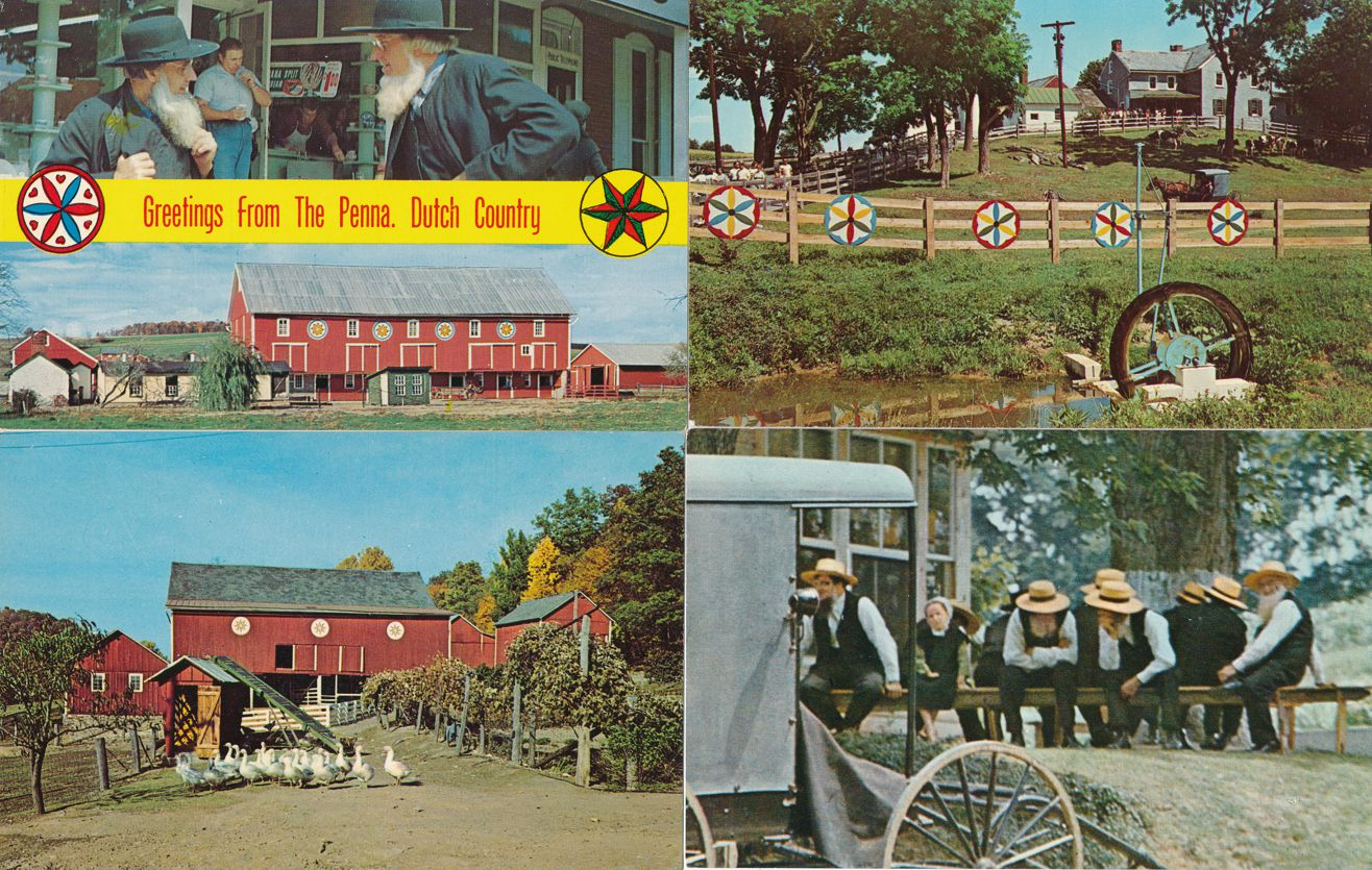 (4 cards) Amish Country near Lancaster, Pennsylvania - Hex Signs - Ducks - Men