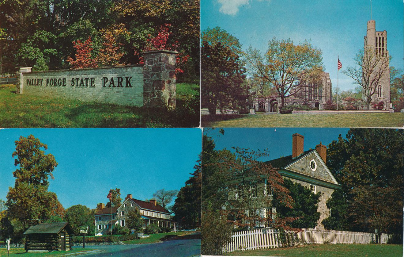 (4 cards) Valley Forge State Park, Pennsylvania - Bell Tower - Bake House - Headquarters