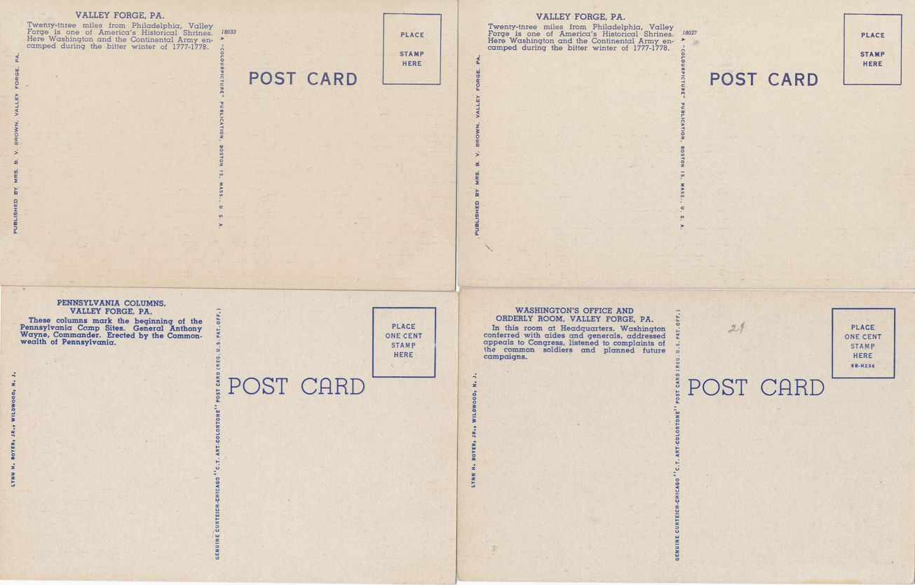 (4 cards) Valley Forge, Pennsylvania - Washington Office and Kitchen - Linen Card