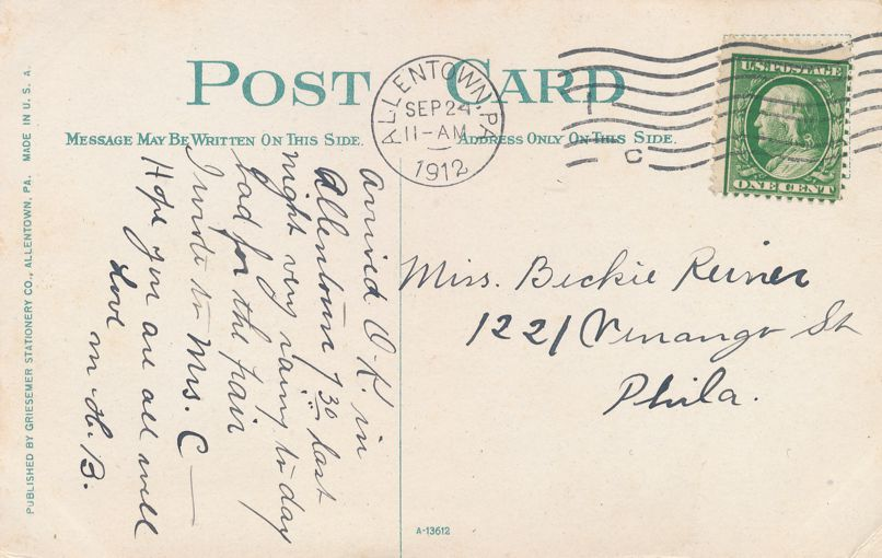 Allentown, Pennsylvania - Post Office - pm 1912 - Divided Back