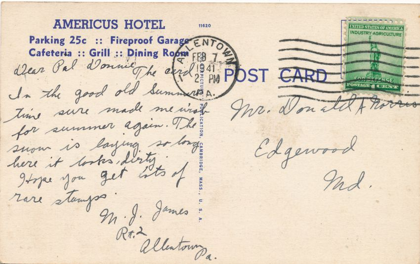Allentown, Pennsylvania - Americus Hotel - Rates from $2.50 - pm 1941 - Linen Card