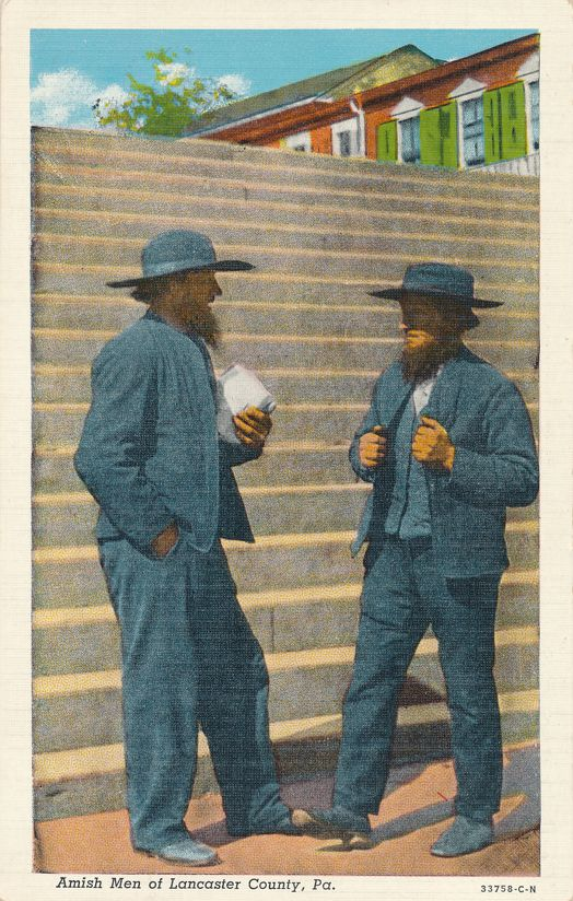 Lancaster County, Pennsylvania - Amish Men - Linen Card