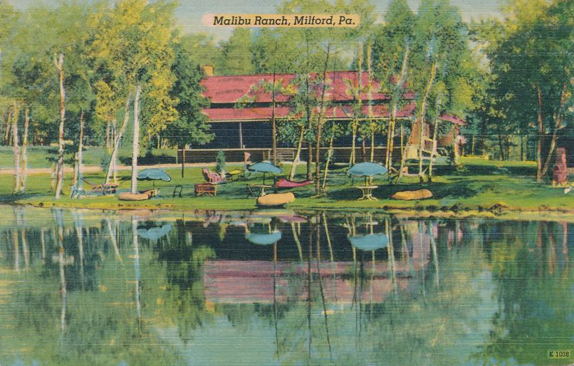 Milford, Pike County, Pennsylvania - Pond at Malibu Dude Ranch - pm 1951 - Linen Card