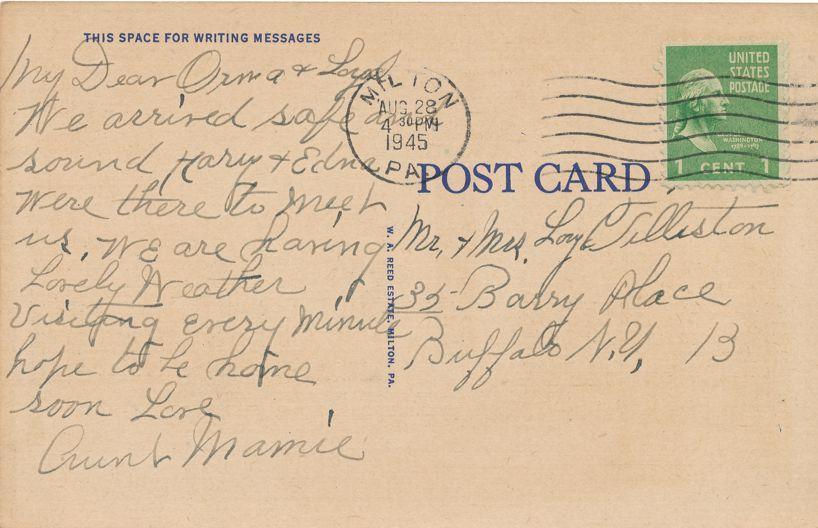 Milton, Pennsylvania - United States Post Office - pm 1945 - Linen Card