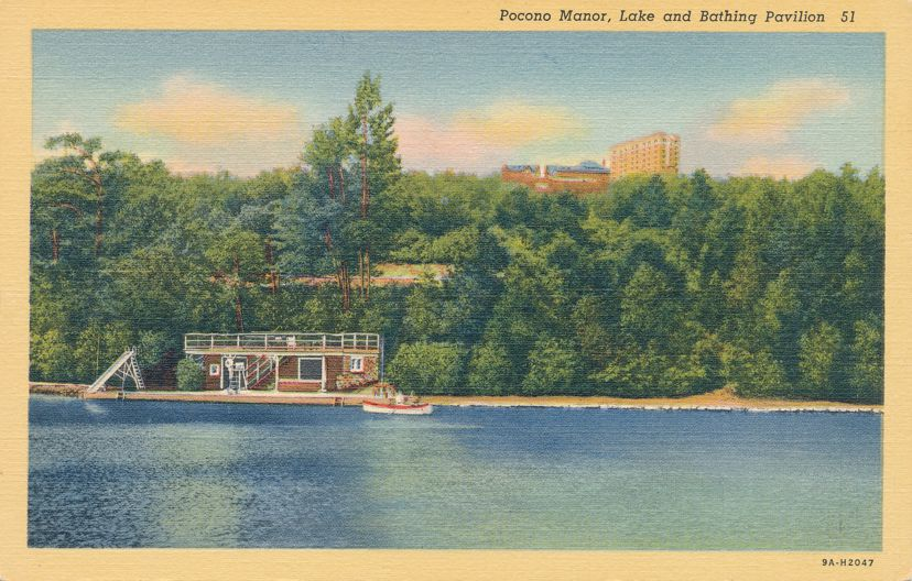 Pocono Manor, Pennsylvania - Lake and Bathing Pavilion - Linen Card