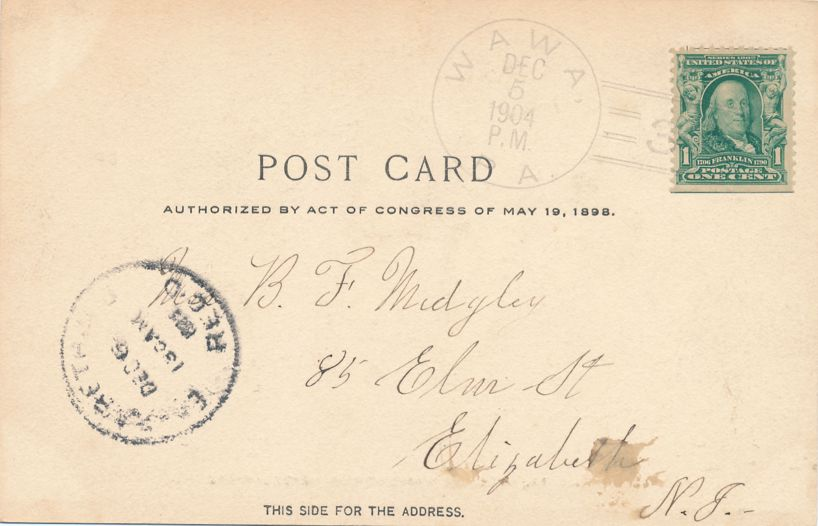 Valley Forge, Pennsylvania - Interior Washington Headquarters - DPO 1904 at Wawa PA - Undivided Back