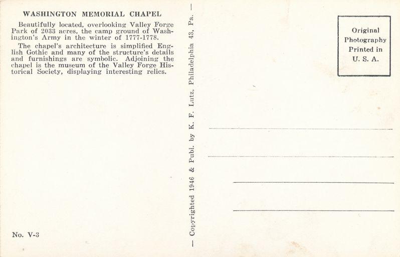Valley Forge, Pennsylvania - Washington Memorial Chapel