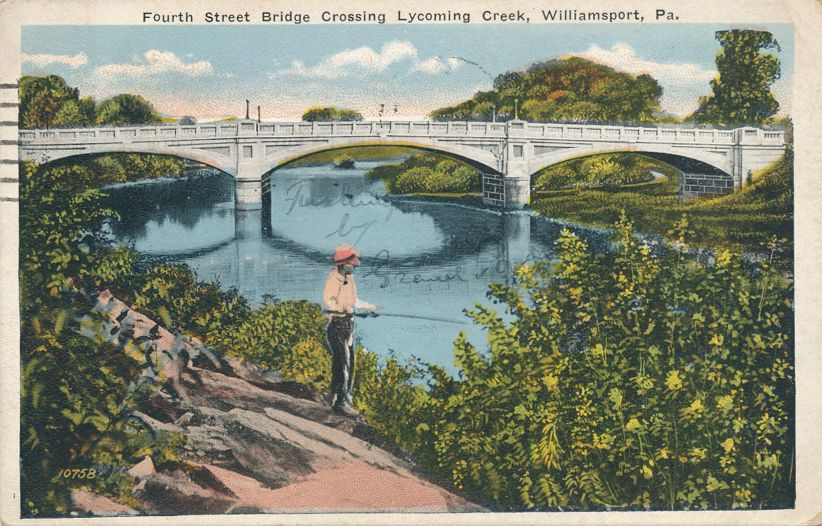 Fishing in Lycoming Creek - Williamsport, Pennsylvania - Fourth Street Bridge - pm 1923 - White Border