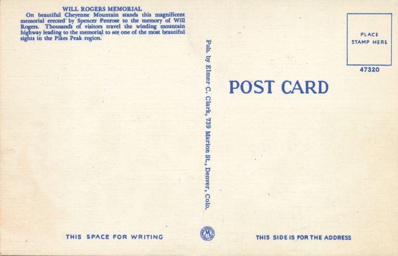 Colorado Springs, Colorado - Will Rogers Memorial on Cheyenne Mountain - Linen Card
