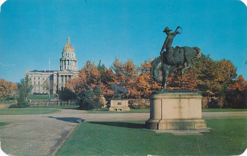 Denver, Colorado State Capitol - Bronco Buster and Indian Warrior Monuments