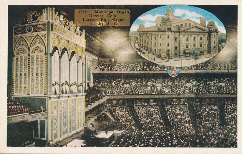 Auditorium at Denver, Colorado - World's Largest Pipe Organ - White Border