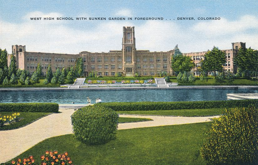 Denver, Colorado - West High School with Sunken Garden - Linen Card