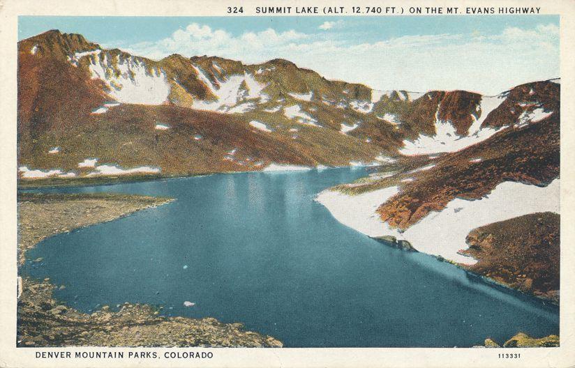 Denver Mountain Parks, Colorado - Summit Lake on Mount Evans Highway - White Border