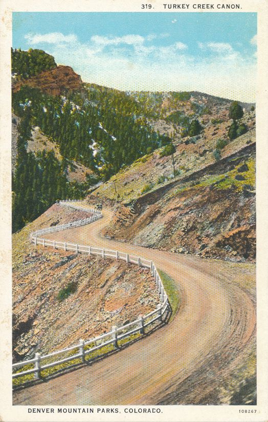Denver Mountain Parks, Colorado - Road in Turkey Creek Canon - Canyon - White Border