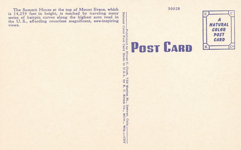 Mount Evans, Colorado - Summit House - Linen Card