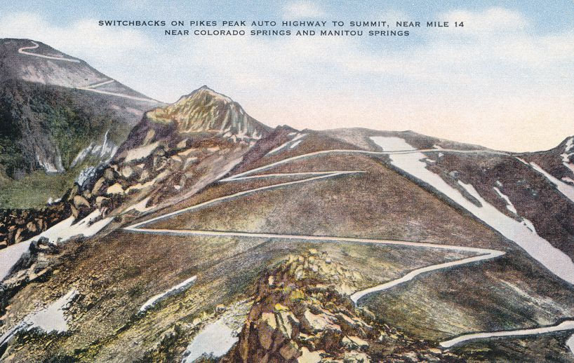 Switchbacks on Auto Highway up Pikes Peak, Colorado near Mile e14 - Linen Card