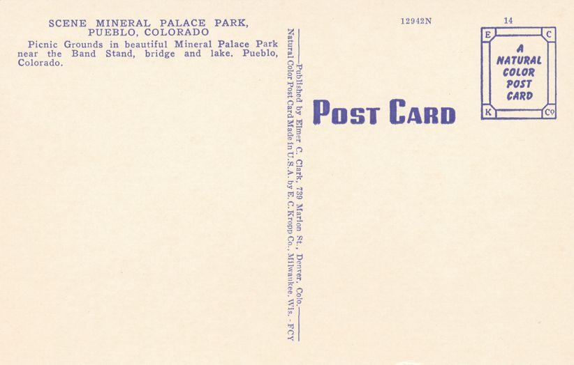 Pueblo, Colorado - Picnic Grounds at Mineral Palace Park - Linen Card