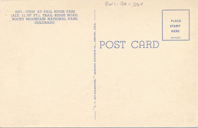 Rocky Mountain National Park, Colorado - Fall River Pass on Trail Ridge Road - Linen Card