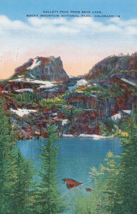 Rocky Mountain National Park, Colorado - Hallett Peak from Bear Lake - Linen Card