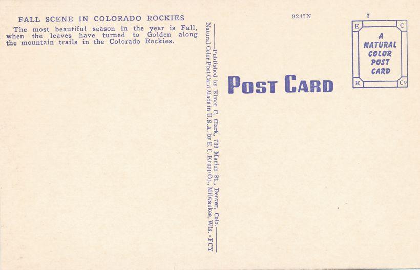Rocky Mountain National Park, Colorado - Aspen Autumn Scene in Rockies - Linen Card